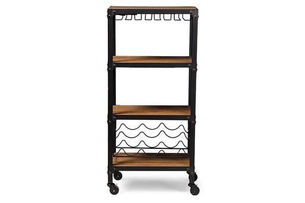 Baxton Studio Swanson Black Textured Metal Mobile Kitchen Bar Wine Shelf YLX-9033