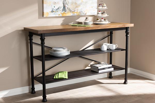 Baxton Studio Wood And Dark Bronze-Finished Metal Kitchen Storage Shelf Unit