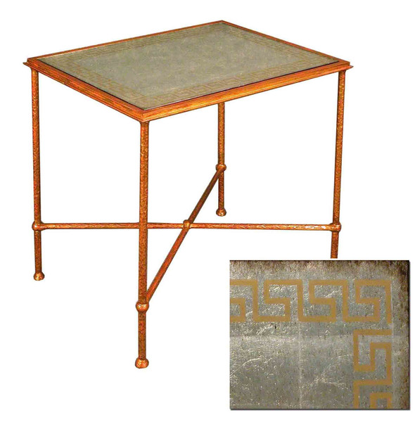 05-2013 Iron Table With Reverse Painted Glass Top By Accents Beyond