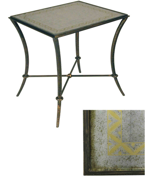 10-2375 Iron & Reverse Painted Glass Table By Accents Beyond