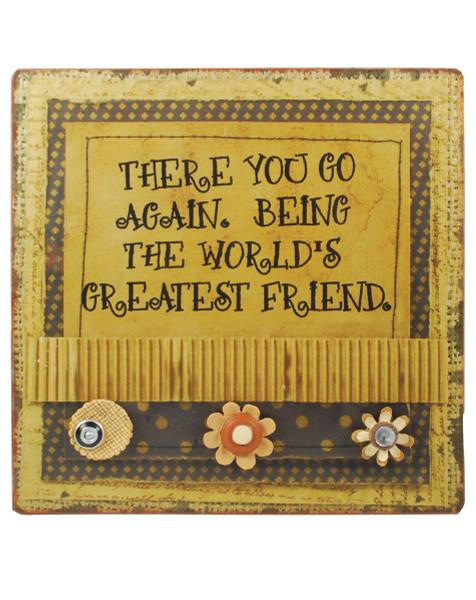 1211-35934 World's Greatest Friend Burlap Plaque - Pack of 4