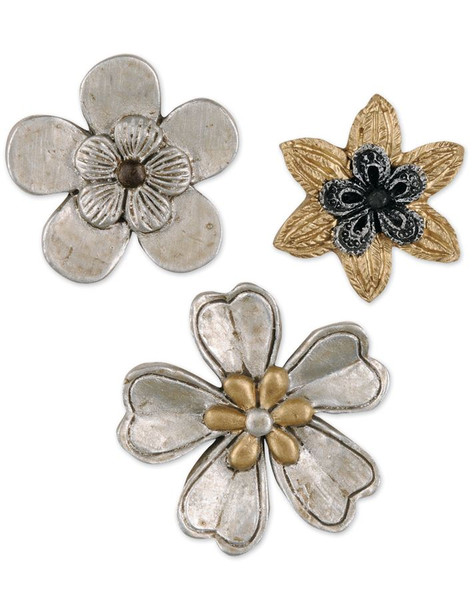 1211-51556 Set of 3 Yellow / White Flower Embellishments - Pack of 9