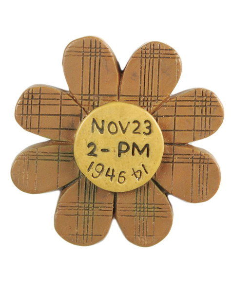 1211-87638 Blossom Bucket Yellow Plaid Flower Magnet - Pack of 17