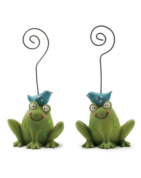 123-86135 Set of 2 Frogs With Bluebirds Note Holders - Pack of 6