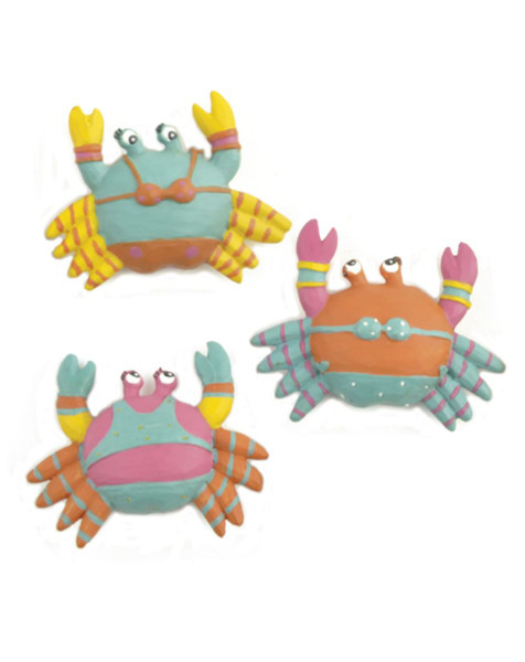 124-85072 Set of 3 Colorful Crabs In Swimsuits - Pack of 4