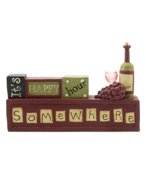 125-86532 It's Happy Hour Somewhere Wine Block - Pack of 7