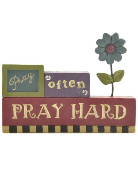 1266-86554 Blossom Bucket Pray Often Pray Hard Block - Pack of 9