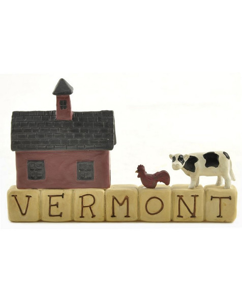 1266-86809 Blossom Bucket Vermont Block With Barn - Pack of 6