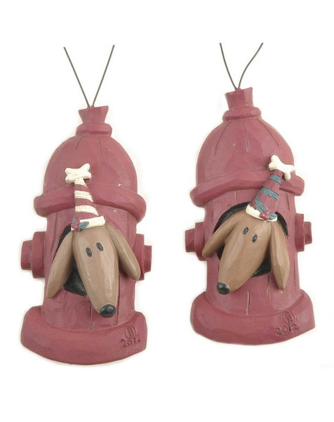 128-51067 Set of 2 Dogs With Hats In Fire Hydrant Ornaments-Pack of 9