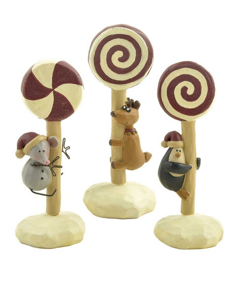 128-86118 Set of 3 Christmas Critters On Lollipops - Pack of 4