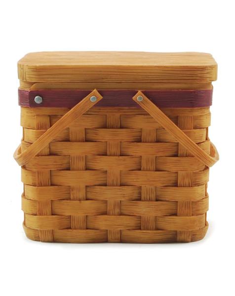 1288-86756 Basket With Burgundy Trim & Lid - Pack of 6
