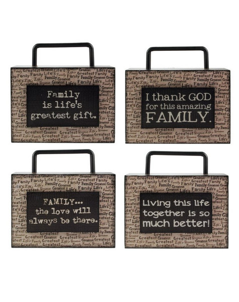 1311-36746 Blossom Bucket Set of 4 Family Wood Box Signs - Pack of 2