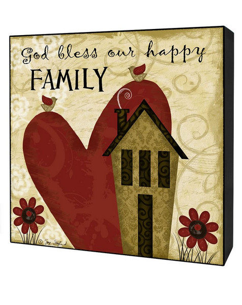 1311-36864 God Bless Family Wall Box Sign With Heart - Pack of 4
