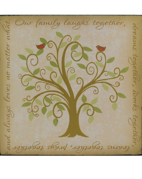 1311-36871 Our Family Wall Box Sign With Tree / Birds - Pack of 4