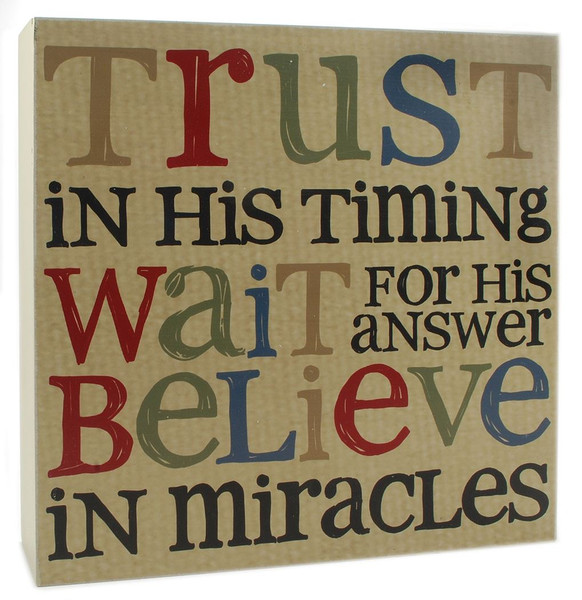 1311-37037 Trust In His Timing Wall Box Sign - Pack of 4