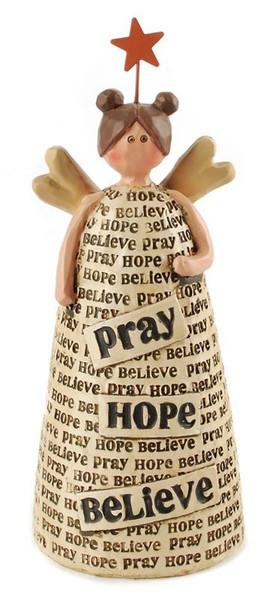 1311-91704 Blossom Bucket Pray / Hope / Believe Angel - Pack of 6