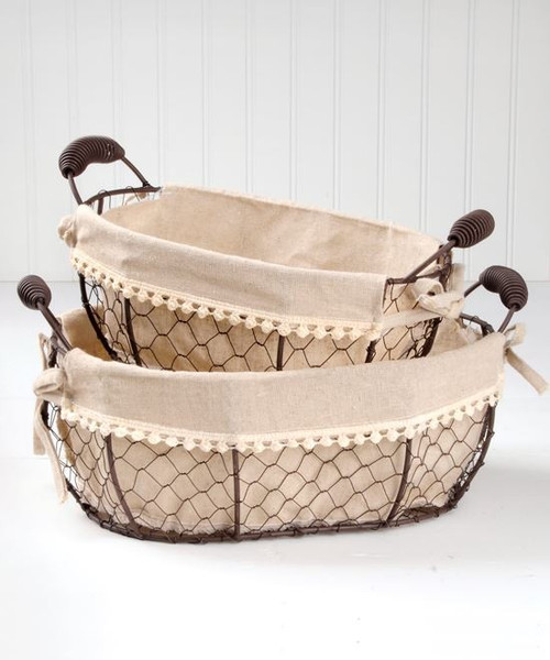 131-36406 Set of 2 Oval Fabric Wire Baskets With Handles - Pack of 4