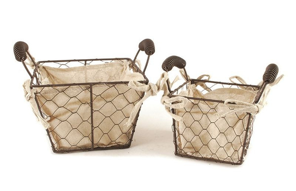 131-36407 Set of 2 Square Wire Fabric Baskets With Handles-Pack of 4