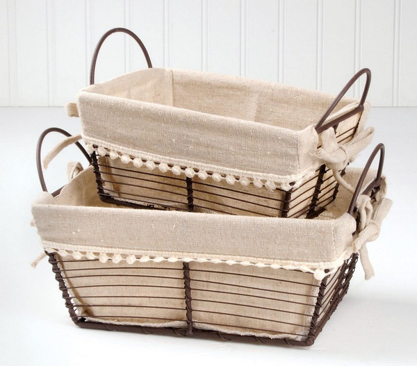 131-36412 S/2 Rectangular Metal/Fabric Baskets W/Two Handles-Pack of 4