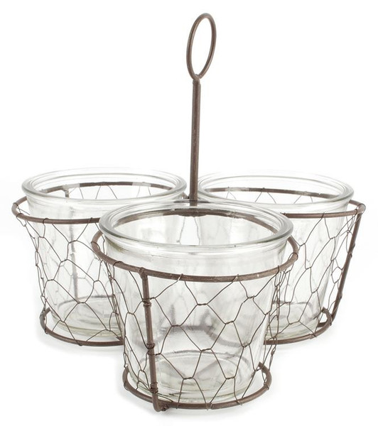 131-36734 Metal Basket With Three Glass Planters - Pack of 4