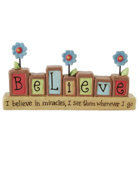 131-86773 Believe In Miracles Block On Base - Pack of 6