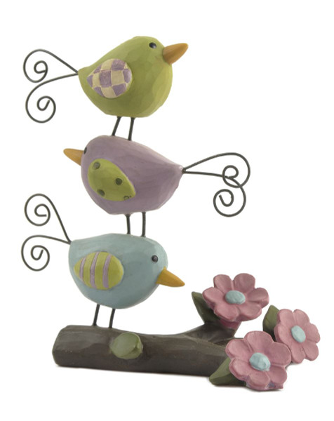 131-87015 Blossom Bucket Three Stacked Birds On Branch - Pack of 5