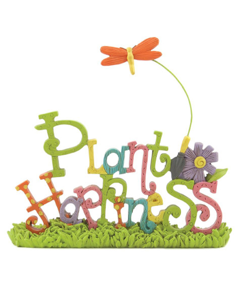 131-87133 Plant Happiness On Base With Dragonfly - Pack of 5