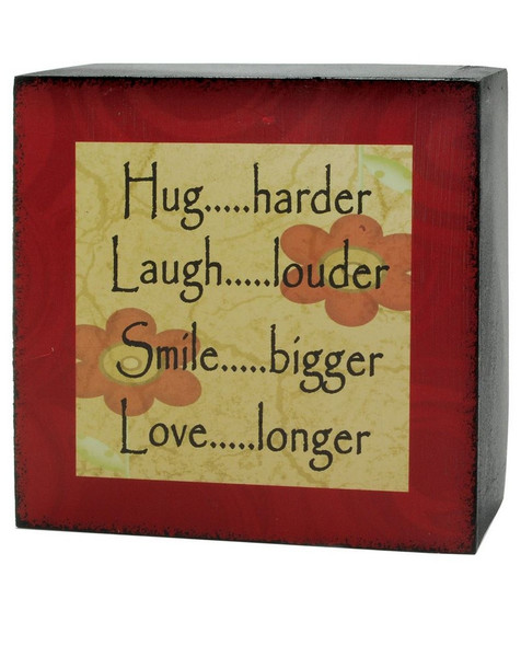 133-36997 Blossom Bucket Hug Harder 4 X 4 Box Sign - Pack of 9