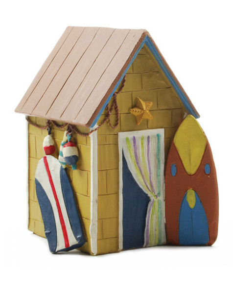 133-87479 Yellow Beach House With Surfboard - Pack of 5