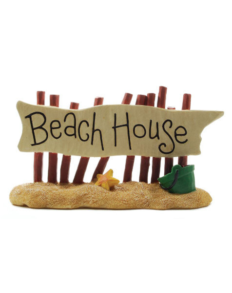 133-87487 Fence On Beach With Beach House Sign - Pack of 6