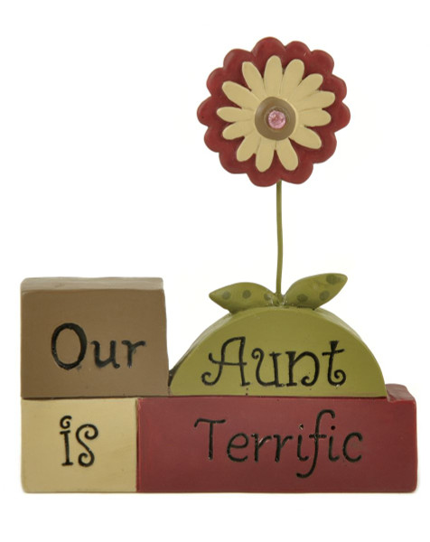 133-88364 Our Aunt Letter Blocks With Flower - Pack of 8