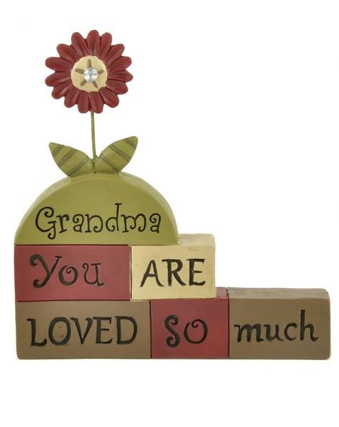 133-88371 Grandma Loved Much Blocks With Flower - Pack of 8