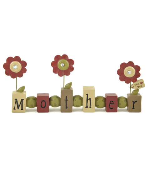 133-88377 Mother Bead Block With Jeweled Flowers - Pack of 6