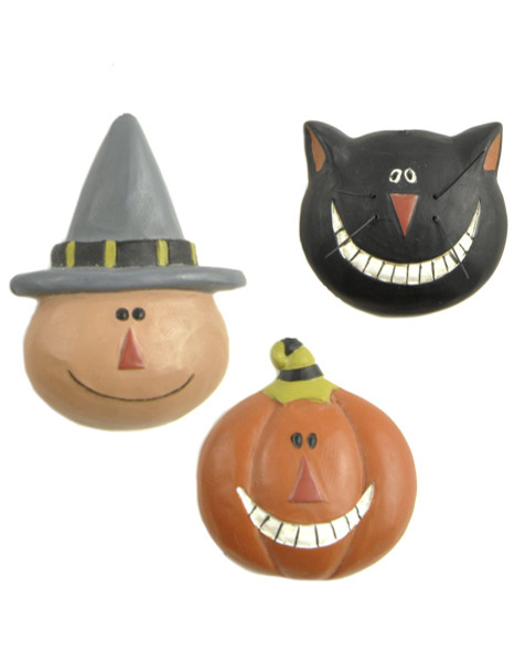 136-51471 Set of 3 Cat / Jack-O-Lantern / Witch Pins - Pack of 6