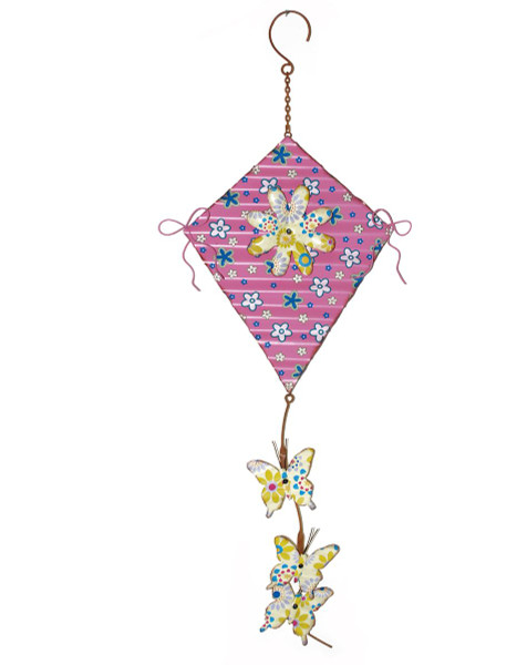 1366-70173 Blossom Bucket Pink Metal Kite With Daisy - Pack of 3
