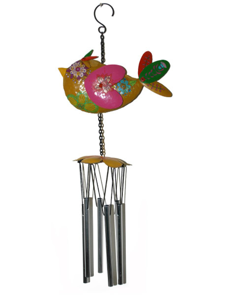 1366-70175 Metal Yellow with Pink Bird Windchime - Pack of 3