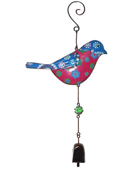 1366-70176 Blossom Bucket Blue / Pink Bird Windchime - Pack of 4
