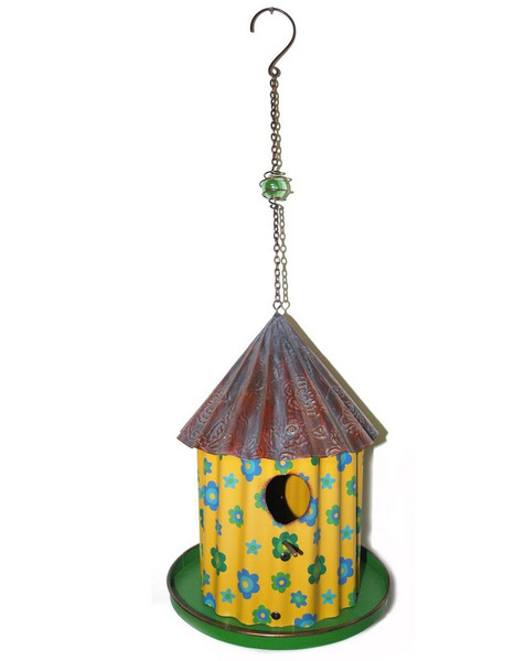 1366-70180 Yellow / Green Hanging Birdhouse - Pack of 2
