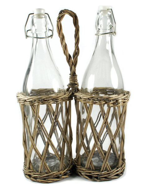 1366-70237 Two Place Wicker Bottle Holder With Bottles - Pack of 4