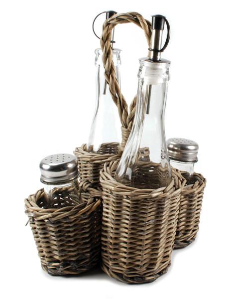 1366-70239 Two Oil Bottles/Salt/Pepper Shakers In Basket-Pack of 3