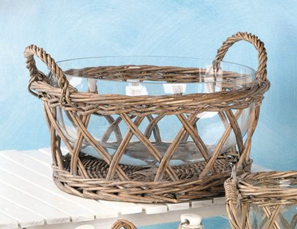 1366-70240 Wicker Salad Basket With Glass Bowl - Pack of 2