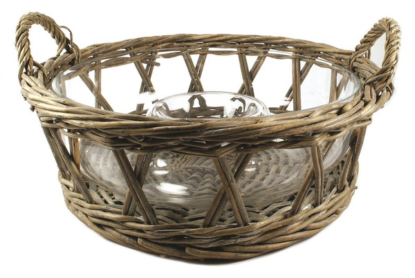 1366-70241 Wicker Basket With Chip And Dip Glass Bowl - Pack of 2