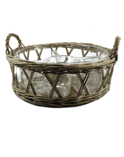 1366-70244 Wicker Basket With Four Divider Bowl - Pack of 2