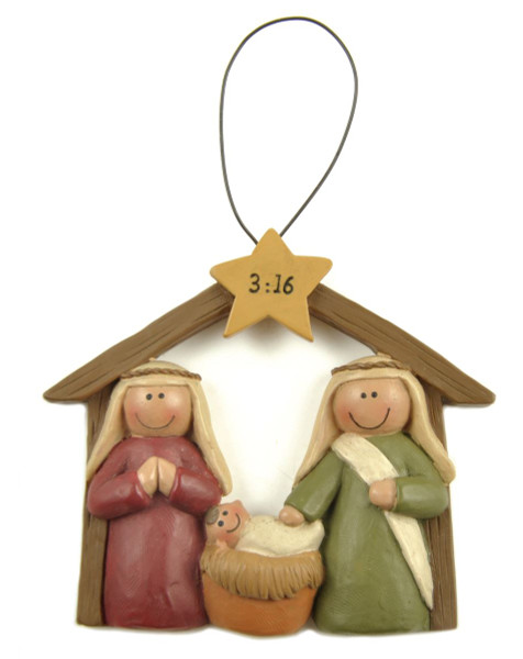 138-51598 Blossom Bucket 3:16 Manger With Star Ornament - Pack of 9