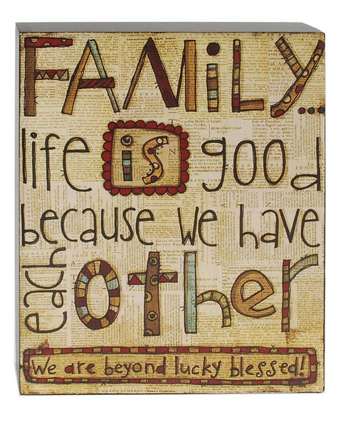 1411-39202 Family Life Is Good Wall Box Sign - Pack of 4