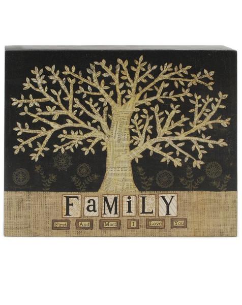 1411-39302 Blossom Bucket Family Tree Wall Box Sign - Pack of 4