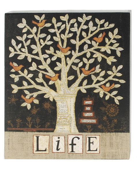 1411-39304 Blossom Bucket Life With Tree Wall Box Sign - Pack of 4
