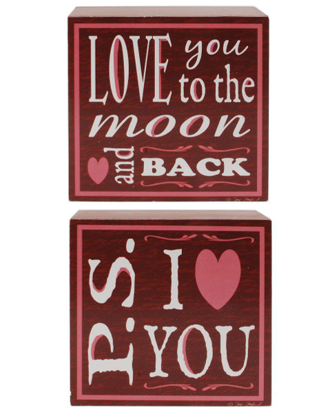 1412-39053 S/2 Love You To The Moon/I Love You Wall Box Signs-Pack/6