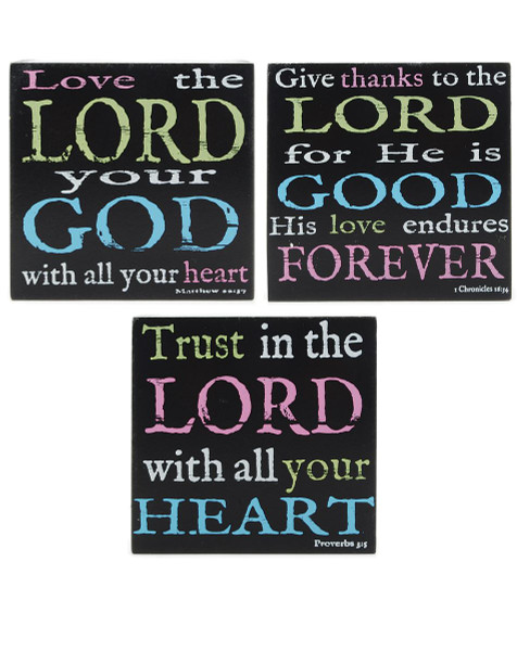 141-37013 Set of 3 Love/Thanks/Trust The Lord Wall Box Signs-Pack of 2