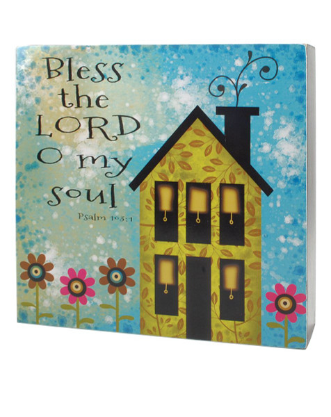 141-37014 Bless The Lord Wall Box Sign With House - Pack of 4